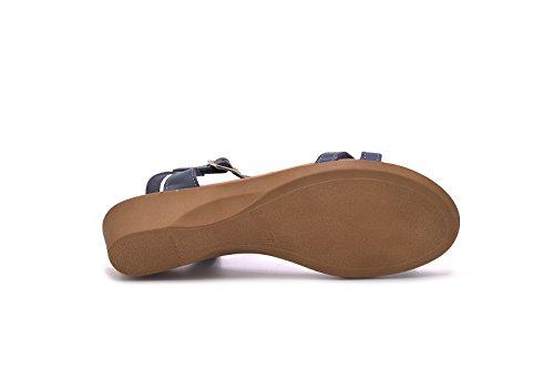 THILTRADING® - Chaussures femme Sandales Bleu Marine - XUSANDALIA 1051 - Cuir Semelle en gel