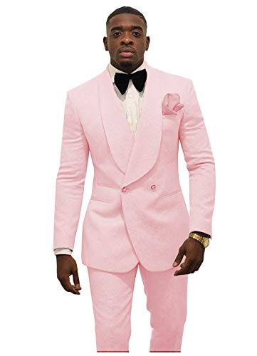 (2 Pieces Mens Suits Slim Fit Formal Business Suits Groom Tweed Wool Tuxedos for Prom Wedding (Blazer+Pants)(2XL,Pink-))