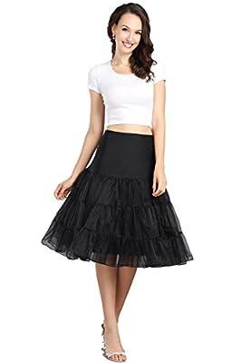 "Wowbridal Women's Vintage 50s Rockabilly Petticoat 25"" Length Tutu Underskirt"