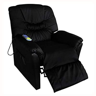 HomyDelight Electric Massaging Chair, Electric Artificial Leather Massage Chair Black