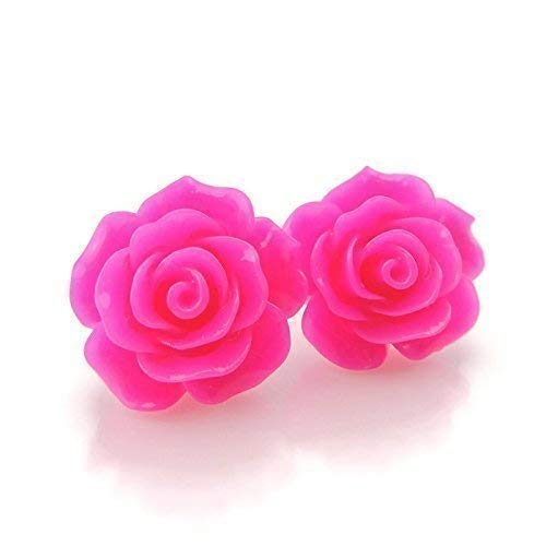 (Large Rose Earrings on Plastic Posts for Metal Sensitive Ears, Bright Pink)