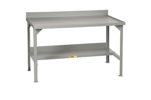 Gauge Steel 12 Workbench (Little Giant WB-2872 Steel Welded Fixed Stationary Workbench with Backstops, 3000 lbs Capacity, 72