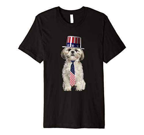 Shih Tzu 4th Of July Dog In Top Hat and Tie Premium T-Shirt