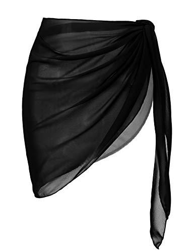 Ekouaer Womens Beach Short Sarong Sheer Chiffon Cover up Soild Color Swimwear Wrap,Black,Large