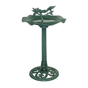 Alpine TEC108 33-Inch Lotus Birdbath with Birds