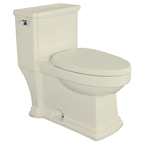 Biscuit Vitreous China Toilet - Transolid TBTS-2400-08 Hayes Elongated 1-Piece Vitreous China, Water-Efficient 1.28 GPF All-in-One Toilet Kit with Slow-Close Seat, Biscuit