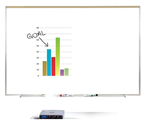 Ghent Matte-Finish Porcelain Dry Erase Projection Board, Wall Mounted, 48-1/2