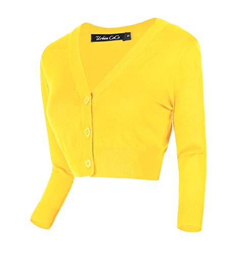 Button Down Wool Skirt - Urban CoCo Women's Cropped Cardigan V-Neck Button Down Knitted Sweater 3/4 Sleeve (M, Lemon Yellow)