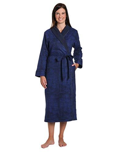 - Women's Premium Flannel Fleece Lined Robe - Jutelicious Blue - Medium