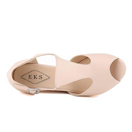 Mujer Zapatos Tacón EKS Beige matte de Beige qtgcv