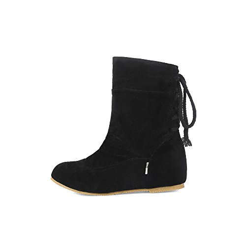 Mid Round Closed Boots AgeeMi Women Shoes Toe Black Solid Up Suede Lace Top wqw6zgAIB