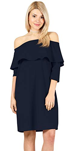 Navy Dresses for Women Navy Cocktail Dress Womens Off The Shoulder Dress Navy Blue Dress Navy Shift Dress for Women (Size Large US 10-12, Navy)