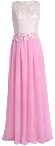 MACloth Women Lace Chiffon Long Prom Dress Wedding Party Bridesmaid Formal Gown Rosa