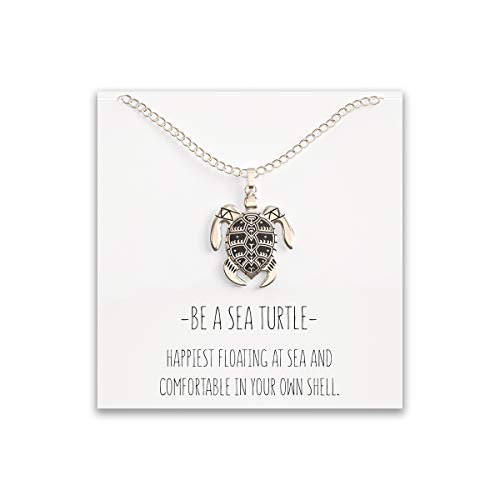 "(Happy Kisses Sea Turtle Necklace for Women - Tribal/Native Black and Silver Pendant – Cute Message Card About Floating at Sea – Great Gift for Girls and Kids– 18"" Chain)"