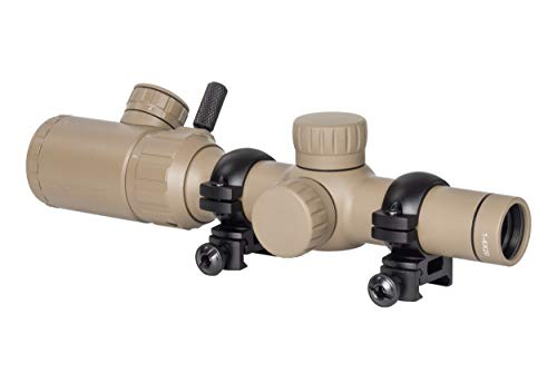 Monstrum Tactical 1-4x20 Rifle Scope with Rangefinder Reticle and Offset Reversible Scope Rings (Flat Dark Earth/Black Rings)