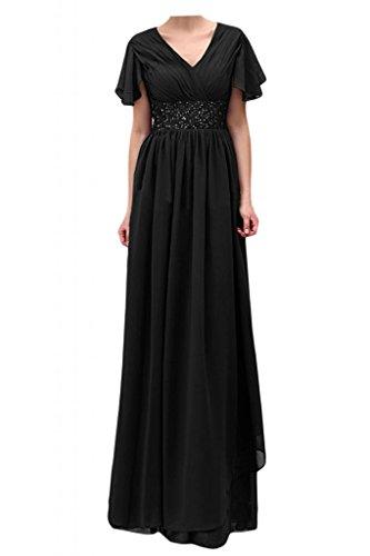 Toscana de novia vestidos de gasa corto perla Chic por la noche mangas madre de la novia vestidos de bola de fiesta largo negro