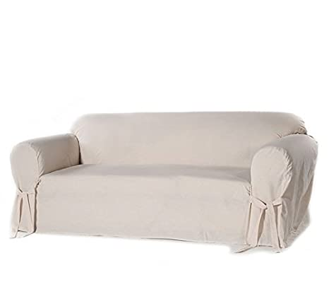 Superb Single Piece Natural Off White Home Decor Slipcover Relaxed Fit Sofa Cover Cotton Duck Material Slipcover With Arms Straight Skirts And Bowties Squirreltailoven Fun Painted Chair Ideas Images Squirreltailovenorg