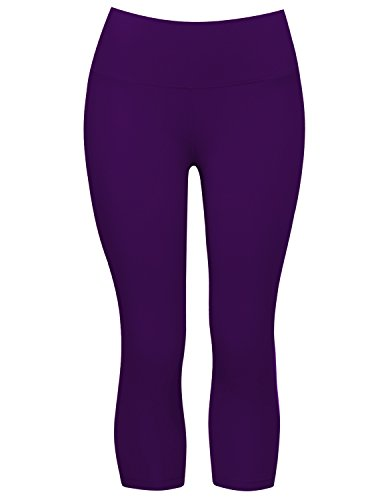7847fc039e BUBBLELIME High Compression Yoga Capris Tummy Control Moisture Wicking  UPF30+ Hidden Pocket,Bwsb016 Eggplantpurple,