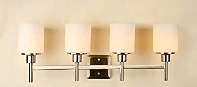 "Saint Mossi Vintage Industrial Modern Wall Lamp Contemporary 4 Round Painting Glass Shade Vanity Light 4 E26 bulbs Sconce Wall Light H11"" X L30"" x W7"""