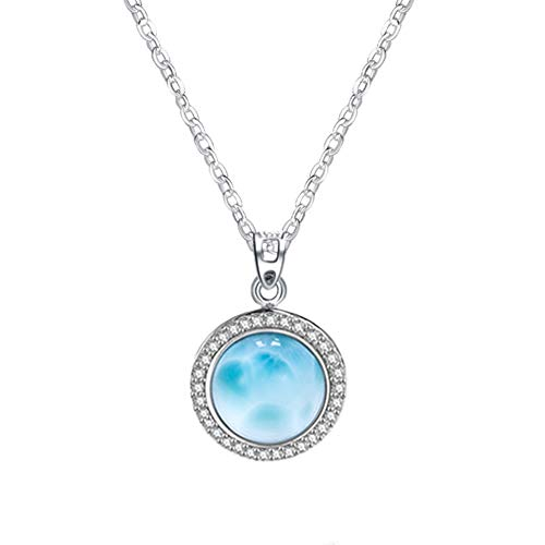 """Tuoke Larimar Pendant Necklace 14K White Gold Plated Silver Round Natural Handmade Gemstones with Cubic Zirconia Pendant Fashion Women Jewery Classic Necklace with 18"""" Chain Gift for Her"""