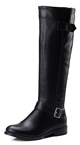 Aisun Womens Casual Buckle Strap Round Toe Inside Zip Up Flat Knight Riding Knee High Boots Shoes With Zipper Black sU8gxk6fUW