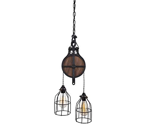 - West Ninth Vintage Wood and Iron Barn Pulley Light (Black)