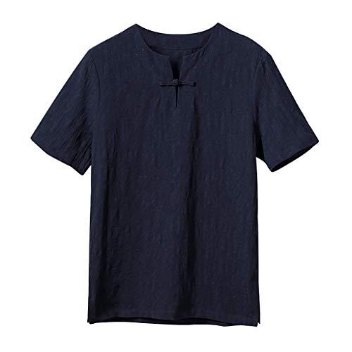 Regular-Fit Short-Sleeve Linen Shirt for Mens Slim-Fit Button
