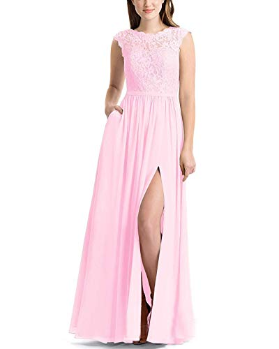 PearlBridal Women's A Line Scoop Neck Lace Bridesmaid Dresses 2019 Floor Length Chiffon Party Gown Pink Size ()