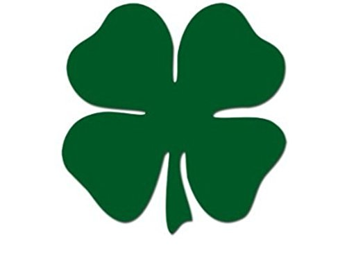 Shamrock 4-Leaf Clover Decal Vinyl Sticker|Cars Trucks Walls Laptop|GREEN|5 ()