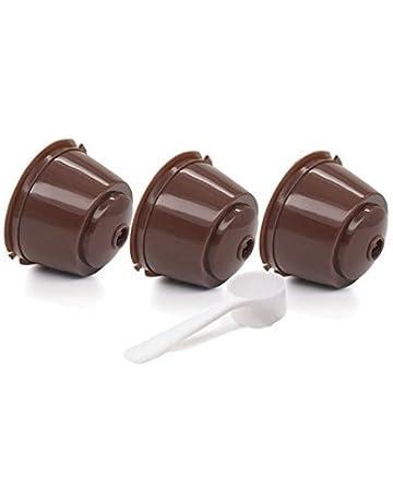 Fligatto Cápsulas recargables con filtro para cafetera Dolce Gusto, incluyen cuchara blanca (color marrón