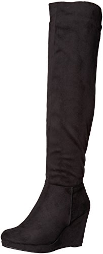 Chinese Laundry Women's LULU Knee High Boot, Black Suede, 9 M US Black Suede Wedge Boots