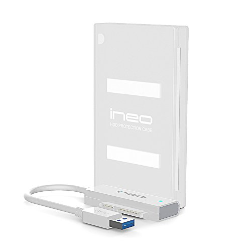 ineo USB 3.1 Type C / 3.0 Type A to 2.5″ SATA III Hard drive Adapter Cable (SATA to USB converter) with case for 2.5 inch 9.5mm & 7mm SATA HDD SSD [2501 III Series]