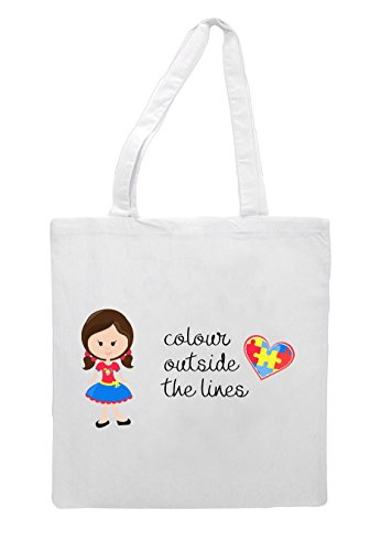 With Girl Bag Awareness The Autism White Pigtails Brown Colour Tote Outside Character G5 Lines xB44RHg