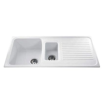 cda as2wh 1 5 bowl reversible composite kitchen sink in white rh amazon co uk white composite single bowl kitchen sink white composite kitchen sinks uk