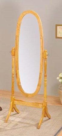 Round Style Wood Cheval Floor Mirror, Oak