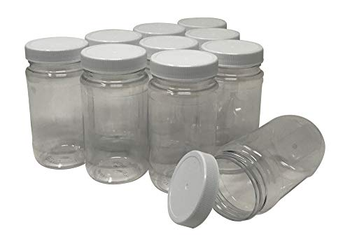 CSBD 8 Oz Clear Plastic Jars With Ribbed Liner Screw On Lids, BPA Free, PET Plastic, Made In USA, Bulk Storage Containers, 10 Pack (8 Ounces)