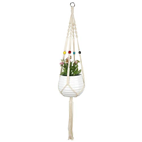 MOKII Macrame Plant Hangers Planter Basket Boho Indoor Outdoor Home Decor, 40 Inch 3018