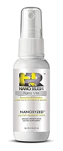 Nano Rush Swarming B Complex- Nanotechnology Spray Complete Vitamin B Blend for Fast and Easy Absorption Without Pills (Orange Cream Spray 30 Day Supply) (Best B12 Oral Spray)