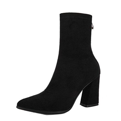 Toe Womens Electrical (Pointed Toe Boots Shoes ,Fheaven Women's Back Zip High Stacked Block Suede High Heel Ankle Bootie (US:7, Black))