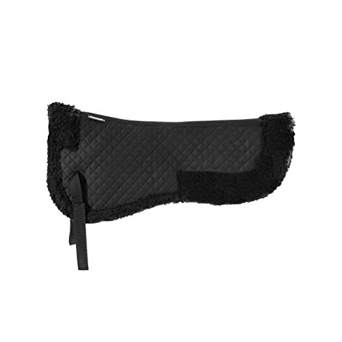 Horze BLACK Fur Half Pad Rolled Fleece Edges Diamond Quilted Pattern English Hunt Seat Dressage Pad