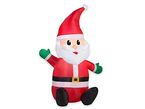 Gemmy LED Lighted Airblown Santa - Christmas Inflatable Outdoor Decoration for Yard, Lawn, Garden - Home Holiday Character Decor - 3.5 Feet Tall (Outdoor Santa Claus Decorations)