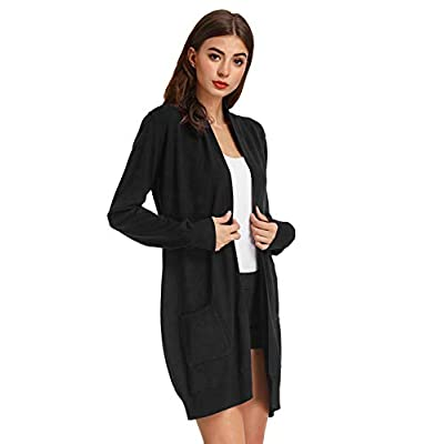 GRACE KARIN Women Open Front Cardigan Sweaters Pockets Long Sleeve Shrugs at Women's Clothing store