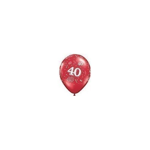 Age 40/40th Birthday/Anniversary Ruby Red 11 Latex Balloons x 5 by Qualatex (40th Anniversary Balloons)