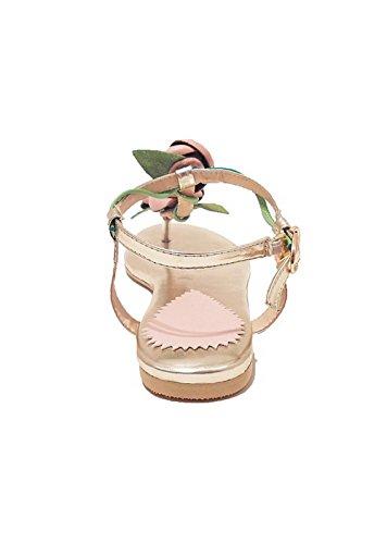 Allhqfashion Womens Split Toe Sandali Con Fibbia Borchia In Materiale Morbido Senza Tacco Rosa