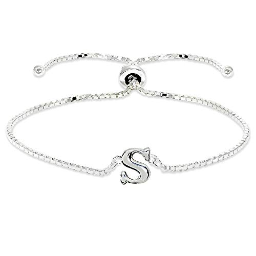 Sterling Silver S Letter Initial Alphabet Name Personalized 925 Silver Adjustable Bolo Bracelet ()
