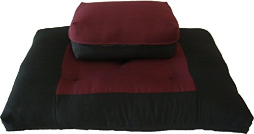 Brand New Zabuton Zafu Set, Yoga, Meditation Seat Cushions, Kneeling, Sitting, Supporting Exercise Pratice Zabuton & Zafu Cushions. (Burgundy) Futon Furniture Sets
