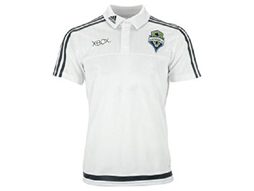 MLS Seattle Sounders FC Men's Sideline Team Polo (White, Large) (Polo Adidas Sideline Shirt)