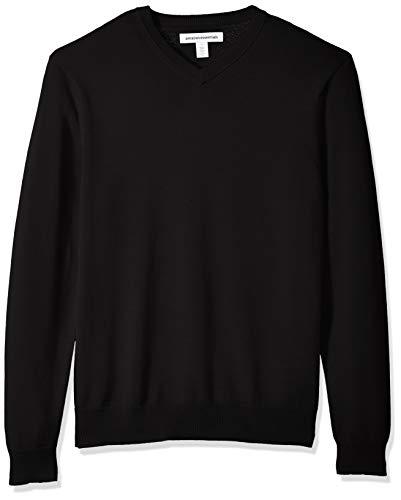 Amazon Essentials Men's V-Neck Sweater, Black, ()