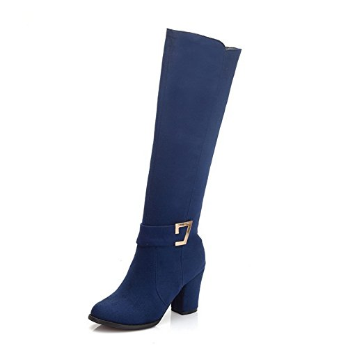 High Frosted Boots Round Blue Heels Toe Women's Solid top High Closed AgooLar OqgBH