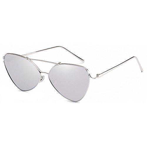 de Gafas de ojo de sol señoras de Plata sol con Gafas de gato cuero para elegantes para mujeres Rosetón estuche gvqwg